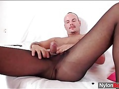 Hot guy wears pantyhose to masturbate tubes