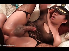 Hot ladyboy dressed in lingerie rides cock tubes
