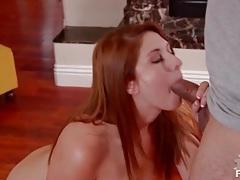 Redhead sucks dick and gets a facial tubes