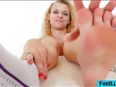 Pretty feet oiled up in close up for dildo footjob tubes