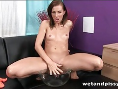 Skinny beauty rubs urine on her body tubes