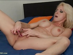 Bleach blonde mature with wicked fit body fingers tubes