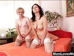 Grandma tongue tenderly licks milf pussy tubes
