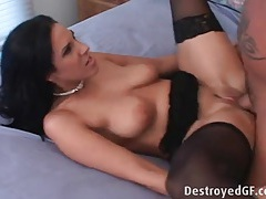 Stockings and heels slut fucked on her back tubes