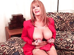Busty mature strips from her sexy work clothes tubes
