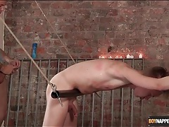 Sexy twink in rope bondage fucked from behind tubes
