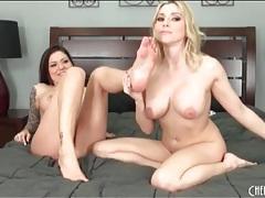 Flirty big tits babes in heels and panties tubes