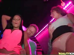 Sluts arrive at the club for naughty dancing tubes