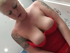 Red lace lingerie looks hot on voluptuous blonde tubes