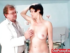 Doctor gives her a breast and pussy exam tubes