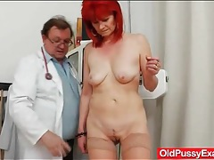 Doctor gives redhead an anal exam tubes