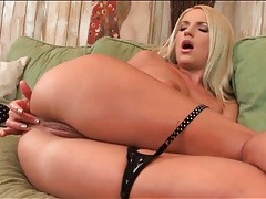 Blonde gets horny and toys her asshole tubes