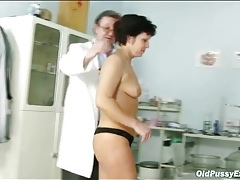 Gentle gloved exam for hairy mature pussy tubes