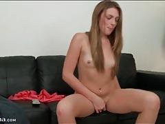 Cute nude chick masturbates and fingers tubes