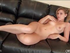 Teen blonde teases her ass in red panties tubes