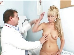 Sexy blonde mature in for a medical exam tubes