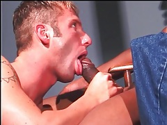 Black dick fills white mouth and tight ass tubes