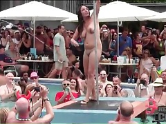 Pool party chicks strip as they dance for the crowd tubes