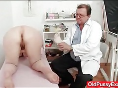 Chubby mature gets a gynecological exam tubes