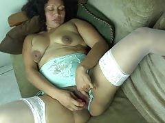 Lace stockings and lingerie on masturbating latina mature tubes