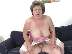 Granny in white stockings rides dick lustily tubes