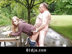 Fat grandpa fucks a sexy blonde teenager tubes