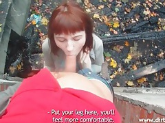 Redhead gives him a sexy blowjob outdoors tubes