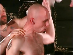 Flexible gay bottom toyed in his lubed ass tubes