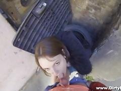 Amateur sucks dick lustily in an alley tubes