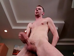 Slim body twink strokes his gorgeous big cock tubes