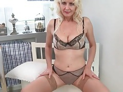 Stockings and lingerie look great on a blonde mature tubes