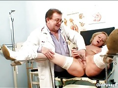 Mature in stockings and boots sees her doctor tubes