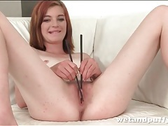 Anal toy turns on her lusty asshole tubes