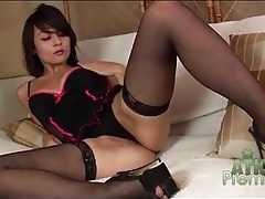 Sexy stockings and lingerie on solo sophia jade tubes