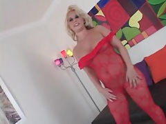 Gorgeous red body stocking on a cocksucker tubes