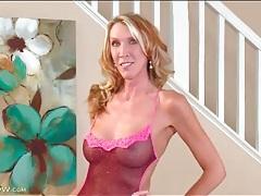 Breathtaking mature blonde in sheer lingerie tubes