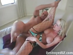 Beautiful leggy blonde in fishnets gets fucked tubes