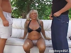 Curvy blonde sucks two stiff dicks outdoors tubes