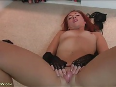 Redhead wants you to see her pink pussy tubes