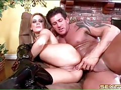 Aggressive sex with slut in boots and gloves tubes