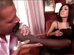 Licking whipped cream off her sexy feet tubes