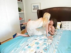 Petite blonde lesbian makes love to a busty girl tubes