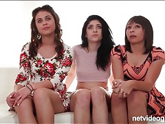 Three cuties in skirts and dresses strip and suck tubes