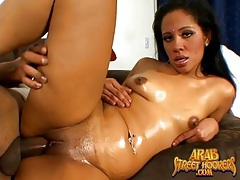 Slick arab pussy fucked by a fat black cock tubes