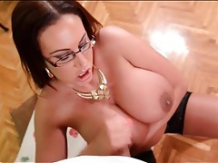 Girl jerks off his cock onto her big tits tubes