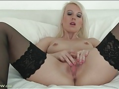 Small tits solo mom in stockings masturbates tubes