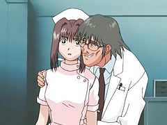Pretty cartoon nurse lets the doctor fondle her tubes