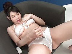 Big tits bikini girl coated in oil cums from toy sex tubes