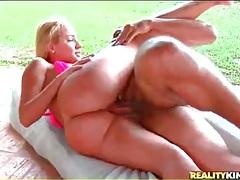 Big booty brazilian in a bikini top gets laid tubes