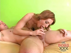 Redhead tries her best to deepthroat his cock tubes